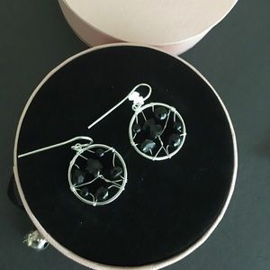 Tous original onyx silver hook earrings